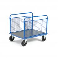 Plošinový vozík, 2 dlouhé drátěné bočnice, 1000x700x900 mm, bez brzd