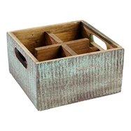 Dřevěná bedýnka se 4mi přihrádkami 17 x 17 cm, modrá