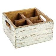 Dřevěná skříňka s 4 přihrádkami, 170x170x100 mm, bílá