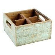 Dřevěná skříňka s 4 přihrádkami, 170x170x100 mm, tyrkysová