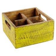 Dřevěná skříňka s 4 přihrádkami, 170x170x100 mm, žlutá