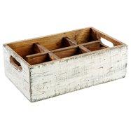 Dřevěná skříňka s 6 přihrádkami, 270x170x100 mm, bílá