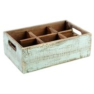 Dřevěná skříňka s 6 přihrádkami, 270x170x100 mm, tyrkysová