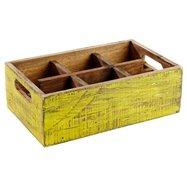 Dřevěná skříňka s 6 přihrádkami, 270x170x100 mm, žlutá