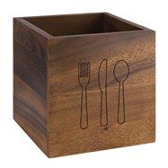 Dřevěná nádoba na příbory 140x140x150 mm, hnědá