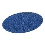 Modrá vinylová protiskluzová sprchová oválná rohož FLOMA Spaghetti - délka 39,5 cm, šířka 70 cm a výška 1,2 cm