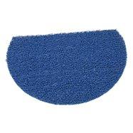 Modrá vinylová protiskluzová sprchová půlkruhová rohož FLOMA Spaghetti - délka 40 cm, šířka 59,5 cm a výška 1,2 cm