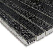Textilní gumová hliníková vnitřní vstupní rohož FLOMA Alu Standard - délka 100 cm, šířka 100 cm a výška 1,7 cm