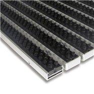 Černá hliníková venkovní kartáčová vstupní rohož FLOMA Alu Super - délka 100 cm, šířka 100 cm a výška 1,7 cm