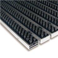 Šedá hliníková kartáčová venkovní vstupní rohož FLOMA Alu Super - délka 100 cm, šířka 100 cm a výška 1,7 cm