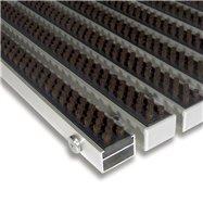 Hnědá hliníková venkovní kartáčová vstupní rohož FLOMA Alu Super - délka 100 cm, šířka 100 cm a výška 2,2 cm