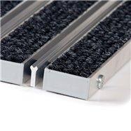 Textilní hliníková kartáčová vnitřní vstupní rohož FLOMA Alu Wide - délka 100 cm, šířka 100 cm a výška 2,2 cm