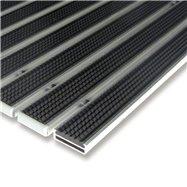Černá gumová hliníková venkovní vstupní rohož FLOMA Alu Low - délka 100 cm, šířka 100 cm a výška 1 cm