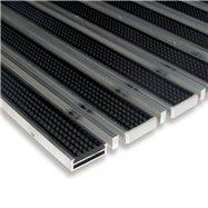 Gumová hliníková kartáčová venkovní vstupní rohož FLOMA Alu Low Extra - délka 100 cm, šířka 100 cm a výška 1 cm