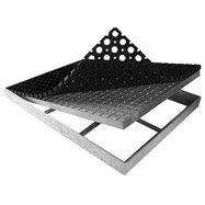 Ocelová kovová čistící venkovní vstupní rohož s pracnami s gumou ze svařovaných podlahových roštů FLOMA Galva - délka 43 cm, šíř