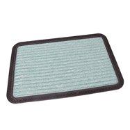 Zelená textilní venkovní čistící vstupní rohož FLOMA Stripes - délka 40 cm, šířka 60 cm a výška 0,8 cm