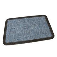Modrá textilní venkovní čistící vstupní rohož FLOMA Chaos - délka 40 cm, šířka 60 cm a výška 0,8 cm
