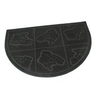 Gumová čistící venkovní půlkruhová vstupní rohož FLOMA Shoes - Squares - délka 40 cm, šířka 60 cm a výška 0,7 cm