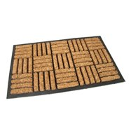 Kokosová čistící venkovní vstupní rohož FLOMA Lines - Squares - délka 45 cm, šířka 75 cm a výška 2 cm