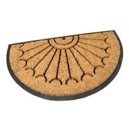 Kokosová čistící venkovní půlkruhová vstupní rohož FLOMA Rays - délka 45 cm, šířka 75 cm a výška 2,2 cm