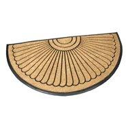 Kokosová čistící venkovní půlkruhová vstupní rohož FLOMA Flower - délka 90 cm, šířka 180 cm a výška 2,2 cm