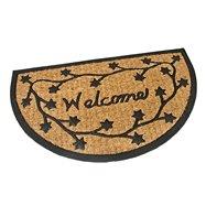 Kokosová čistící venkovní půlkruhová vstupní rohož FLOMA Welcome - Deco - délka 45 cm, šířka 75 cm a výška 0,8 cm