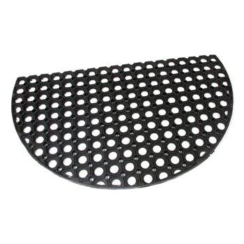 Gumová venkovní čistící půlkruhová vstupní rohož FLOMA Honeycomb - délka 45 cm, šířka 75 cm a výška 1,6 cm