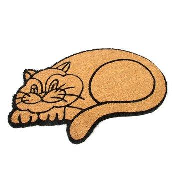 Kokosová venkovní čistící vstupní rohož FLOMA Happy Cat - délka 45 cm, šířka 75 cm a výška 1,7 cm