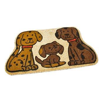 Kokosová venkovní čistící vstupní rohož FLOMA Happy Dogs - délka 45 cm, šířka 75 cm a výška 1,7 cm