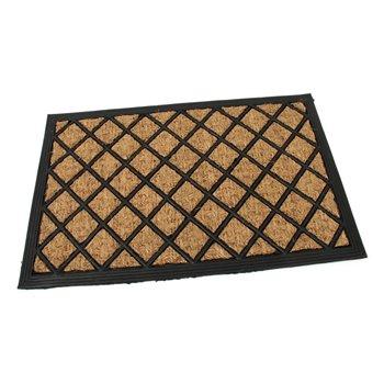 Kokosová čistící venkovní vstupní rohož FLOMA Rectangle - Rhombus - délka 40 cm, šířka 60 cm a výška 0,8 cm