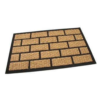 Kokosová čistící venkovní vstupní rohož FLOMA Rectangle - Bricks - délka 45 cm, šířka 75 cm a výška 0,8 cm