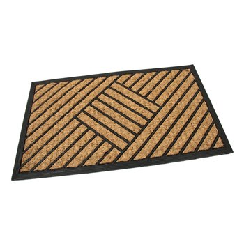 Kokosová čistící venkovní vstupní rohož FLOMA Rectangle - Stripes - délka 45 cm, šířka 75 cm a výška 0,8 cm