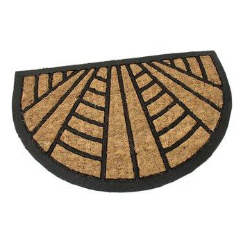 Kokosová čistící venkovní půlkruhová vstupní rohož FLOMA Stripes - Lines - délka 40 cm, šířka 60 cm a výška 0,8 cm