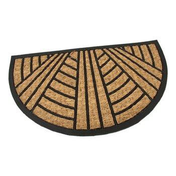 Kokosová čistící venkovní půlkruhová vstupní rohož FLOMA Stripes - Lines - délka 45 cm, šířka 75 cm a výška 0,8 cm