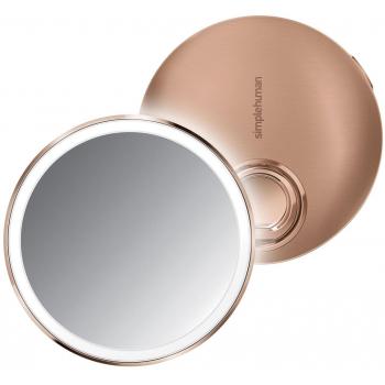 Kapesní kosmetické zrcátko Simplehuman Sensor Compact, LED světlo, 3x zvětšení, Rose Gold