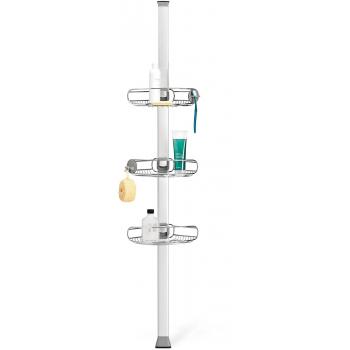 Rohová tyč s nastavitelnými poličkami do sprchy Simplehuman, nerez / hliník, 152 -243cm