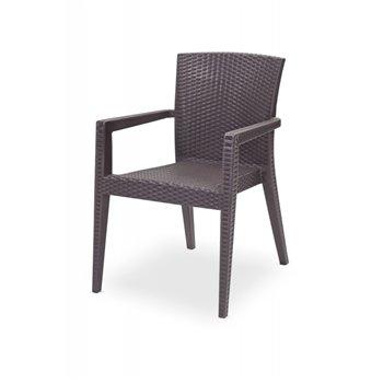 Plastová venkovní židle MARIO, hnědá