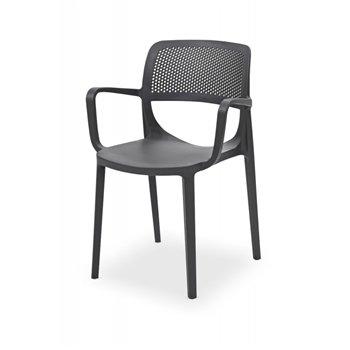 Plastová venkovní židle NICOLA, antracitová