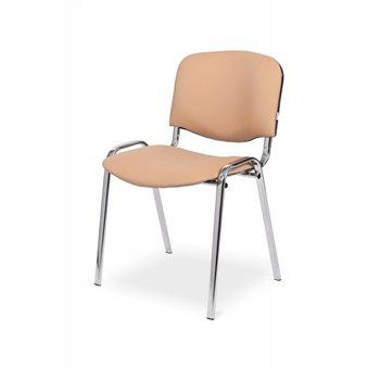 Konferenční ocelová židle ISO 24H CR, ekokůže, světle hnědá / chrom