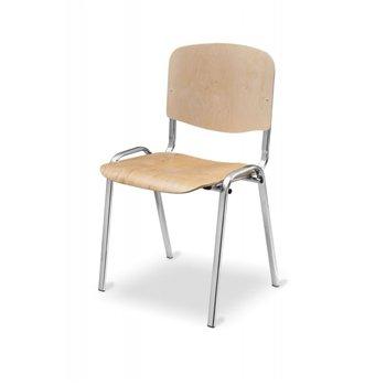 Konferenční ocelová židle ISO WOOD CR, bříza / chrom