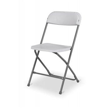 Skládací židle POLY 7, šedý rám, bílý sedák a opěradlo