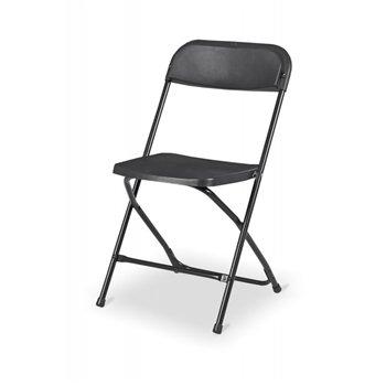 Skládací židle POLY 7, černý rám, černý sedák a opěradlo