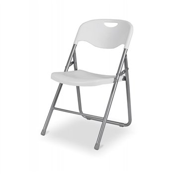 Skládací židle POLY 9, šedý rám, bílý sedák a opěradlo