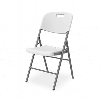 Skládací židle POLY 11, šedý rám, bílý sedák a opěradlo