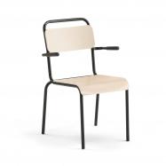 Jídelní židle Frisco, s područkami, černý rám, HPL bříza