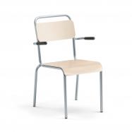 Jídelní židle Frisco, s područkami, hliníkově šedý rám, HPL bříza