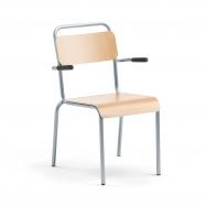 Jídelní židle Frisco, s područkami, hliníkově šedý rám, HPL buk