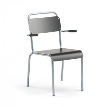 Jídelní židle Frisco, s područkami, hliníkově šedý rám, HPL černá