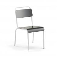 Jídelní židle Frisco, bílý rám, HPL černá