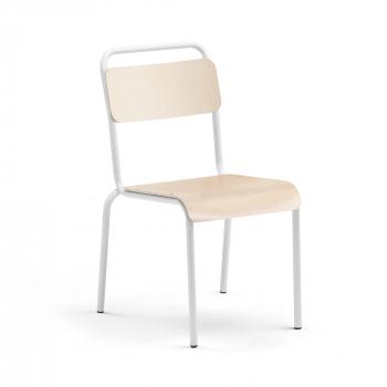 Jídelní židle Frisco, bílý rám, HPL bříza